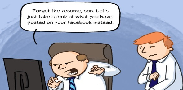 Social Media, workforce equality, employment screening. Image source: http://www.agent-x.com.au/comic/your-true-profile/