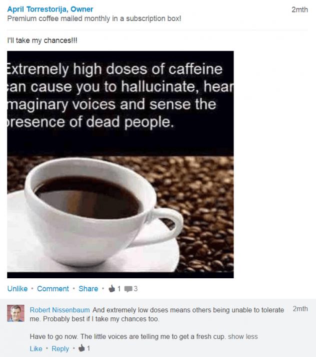 Linkedin post by April Torrestorija owner of noire jet coffee