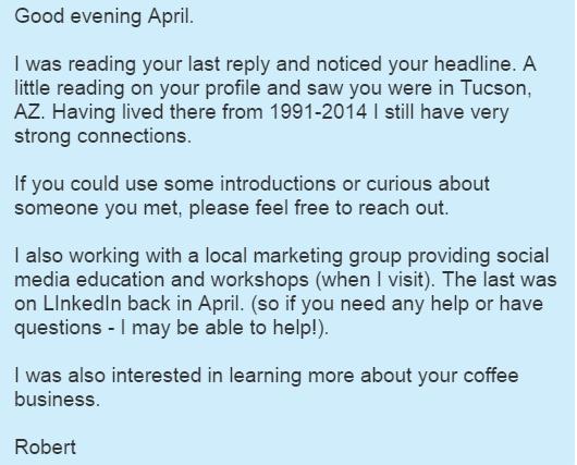Private LinkedIn conversation with April Torrestorija or Noire & Jet Coffee