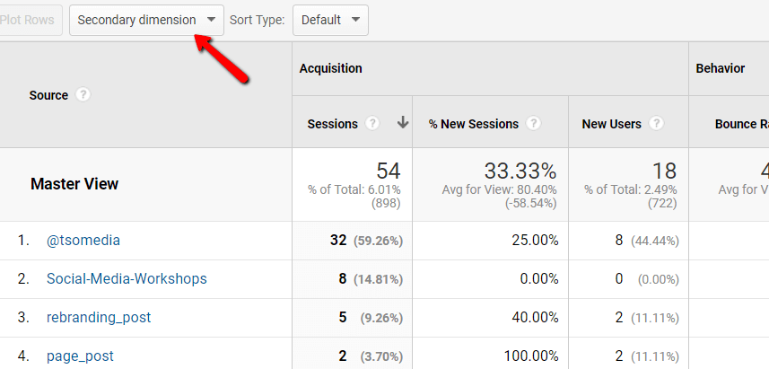 Choosing Google Analytics secondary acquisition dimension selection