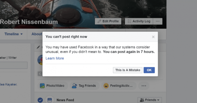 I was thrown in Facebook jail for using Facebook in an unusual way